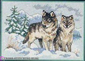 Бесплатная схема вышивки волки пара