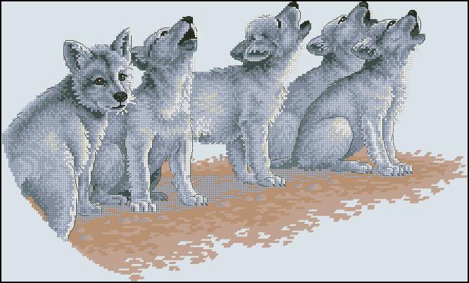 вышивка крестом волки схемы