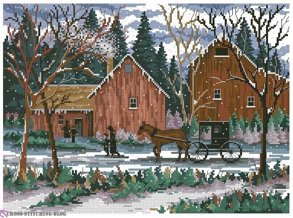 snowy sunday cross stitch