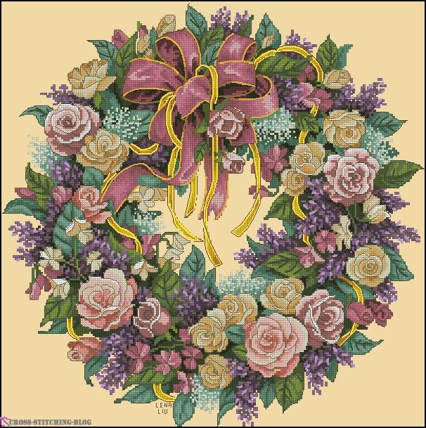 Венок из роз вышивка схема 301