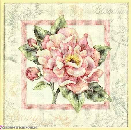 Схема вышивки крестом 'Розовые