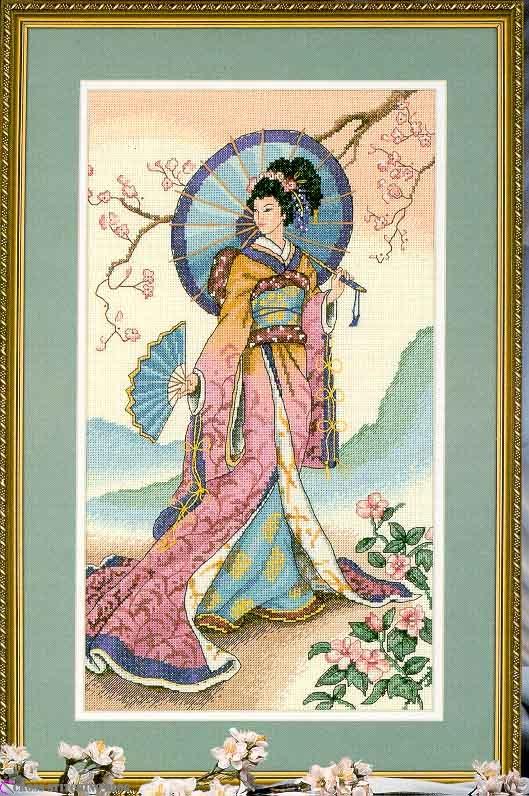 Японка(вышивка крестом,схема) .