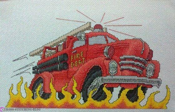 Вышивала эту пожарную машину