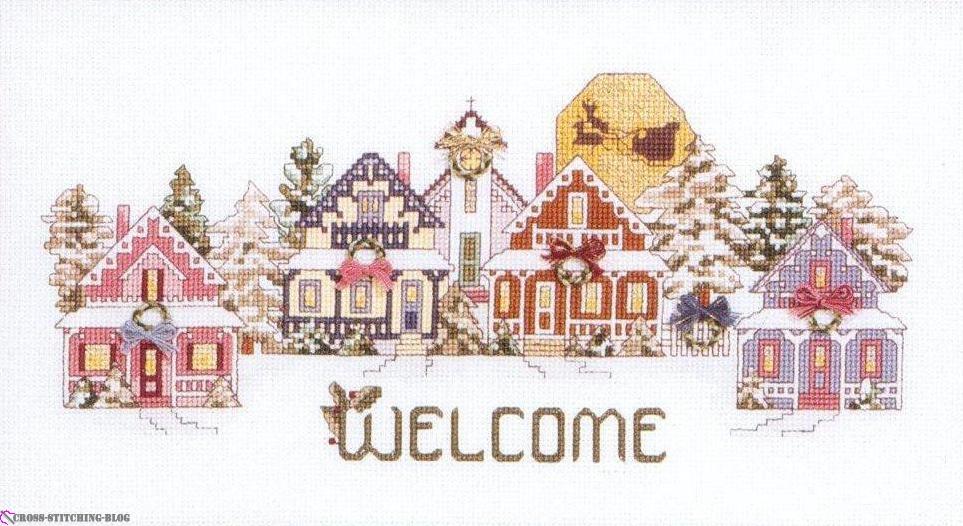 Схема вышивки крестом welcome to