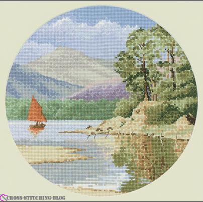 """Оригинал - Схема вышивки  """"Пейзаж в круге """" - Схемы автора  """"smorodina2410 """" - Вышивка крестом."""